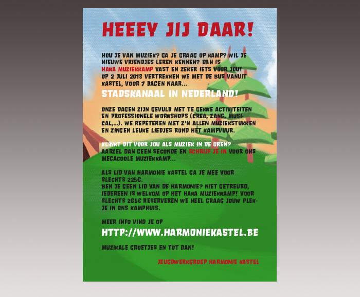 Promotie HaKa Muziekkamp 2018 - uitnodiging - recto