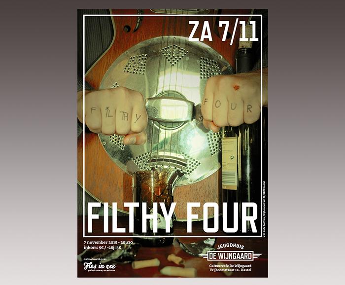 Affiche jeugdhuis De Wijngaard - Filthy Four