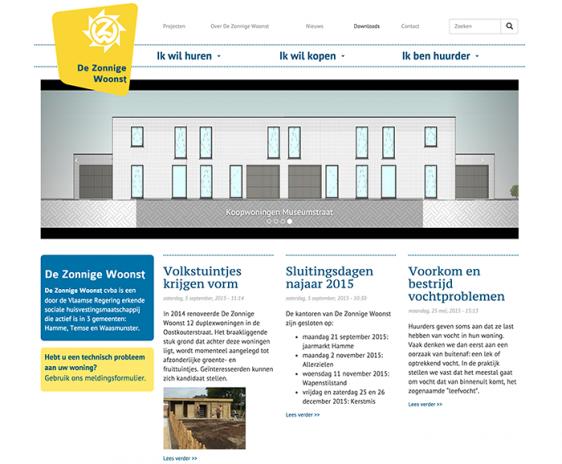 website De Zonnige Woonst - thuisscherm